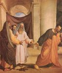 Judas dropping 30 denares the high priests gave him before to betray Jesus.