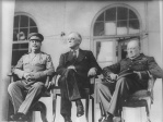 Left to right: Stalin, FDR, Churchill