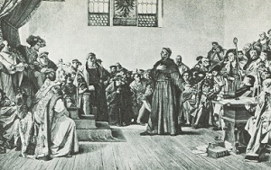 Luther debating at the Diet of Worms